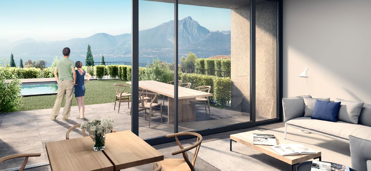 Ferienwohnung in Torri del Benaco am Gardasee. Wohnung mit Schwimmbad, Pool, Seeblick, Garten, Garage. Verkauf Baustudio.